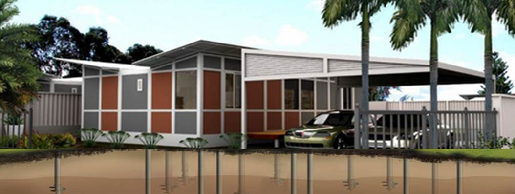 Butterfly modular home on screw piles footing system