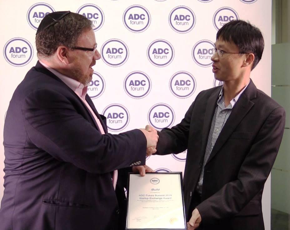 iBuild awarded with the ADC Future Summit 2015 Startup Exchange Award by veteran entrepreneur Evan Thornley