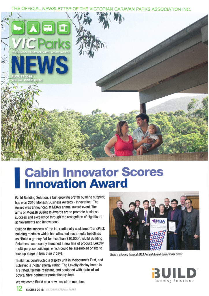 iBuild featured in VicParks Newsletter Cabin Innovator Scores Innovation Award