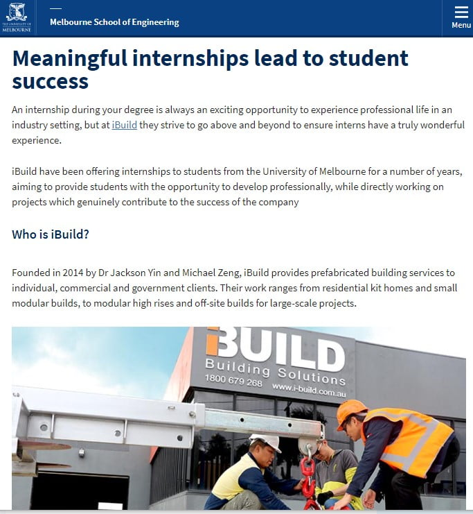 iBuild internship program success story